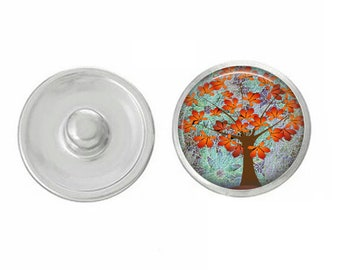 Fall Themed Snap - Autumn Snap - Compatible with GingerSnaps - Ginger Snaps - Magnolia and Vine - 18mm Snap - Fall Trees - Interchangeable