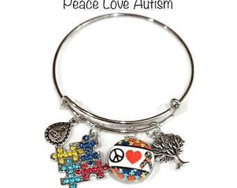 Peace Love Autism Bangle Bracelet - Coordinates with Studio66 LLC Snaps - Gingersnaps - Ginger Snaps - Magnolia and Vine Snaps - Customize