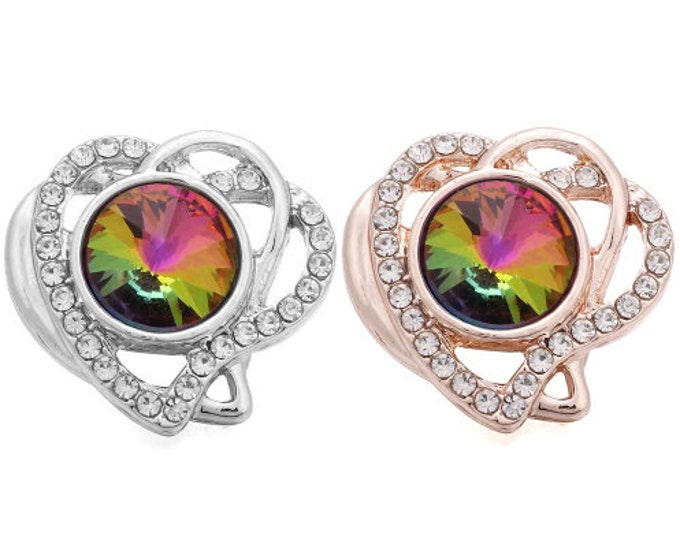 Heart Snap in Rose Gold or Silver with Colorful Center Stone Snap - Compatible with Ginger Snaps - Magnolia and Vine - 18mm - Noosa Snap