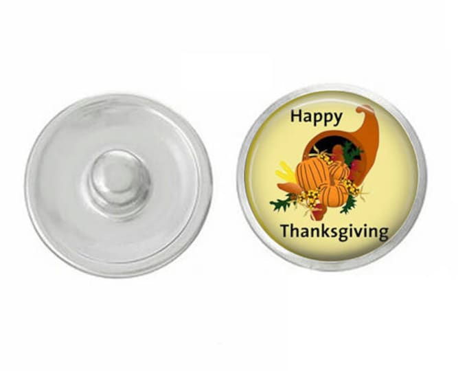 Happy Thanksgiving Snap for Jewelry - Bracelets - Charm Bracelets - Compatible with Gingersnaps - Ginger Snaps - Noosa - Chunk