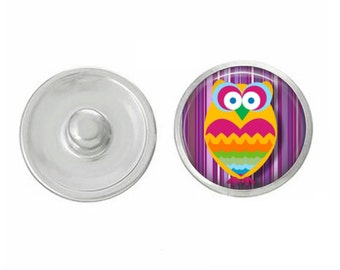 Colorful Owl Snap - Compatible with Studio66 LLC -  Gingersnaps - Magnolia and Vine - Noosa 18-20mm Base - Handpressed Snaps