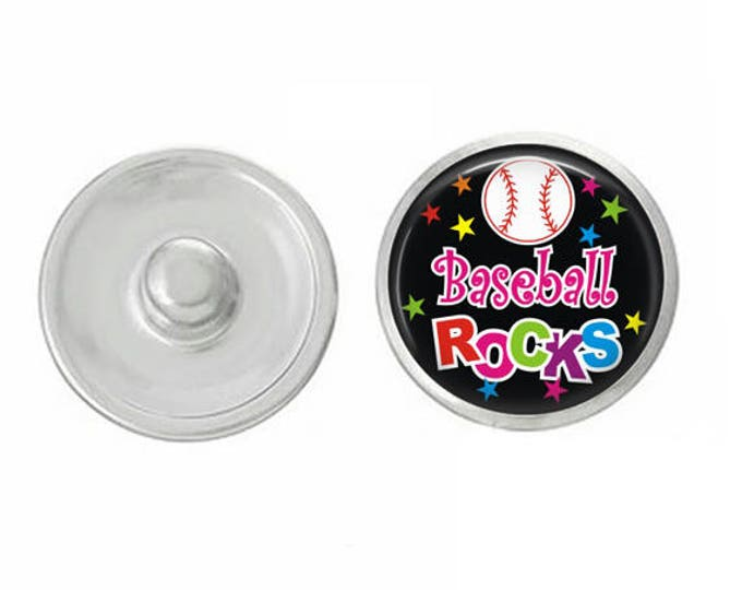 Baseball - Baseball- Gymnastics - Soccer - Cheer- Rocks Snaps- Pair with Base Pieces - 18-20mm GingerSnaps and Magnolia and Vine Base Piece