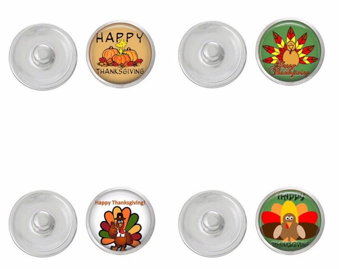 Thanksgiving Themed Snaps - Choose 1 or the Set of Four - Gingersnaps - Ginger Snaps - Magnolia and Vine - Turkey Snaps - Interchangeable