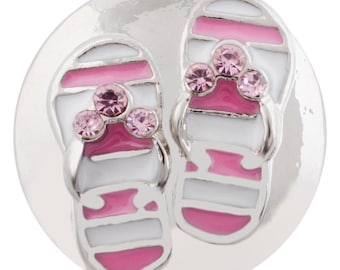 Flip Flop Snap - Pink Flip Flop Snap - Compatible with Gingersnaps - Ginger Snaps -  Magnolia and Vine - Noosa 18-20mm Base - Enamel Snap