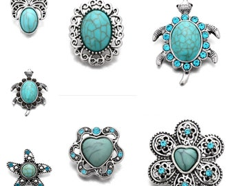 Turquoise Stone Snaps - Compatible with Ginger Snaps - Magnolia and Vine - Turtle - Flower - Oval - Pineapple Snaps - Snap Button Charms