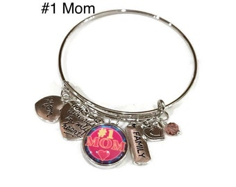 Number One Mom Bangle Bracelet - Coordinates with Studio66 LLC Snaps - Gingersnaps - Ginger Snaps - Magnolia and Vine Snaps - Customize