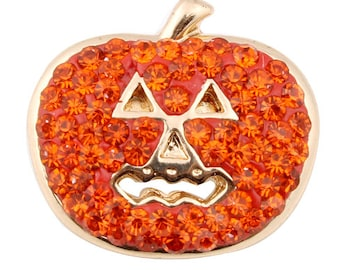 Halloween Pumpkin Crystal Interchangeable Fall Themed 18mm Snap - Compatible with GingerSnaps - Magnolia and Vine - Noosa Snap Jewelry