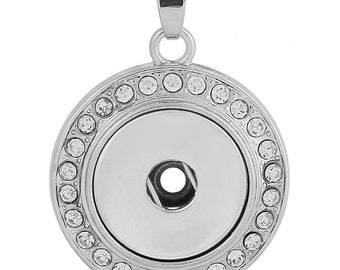 Crystal Round Pendant with Snap - Compatible with Gingersnaps - Ginger Snaps - Magnolia and Vine - 18-20mm snap Compatible - Gingersnaps