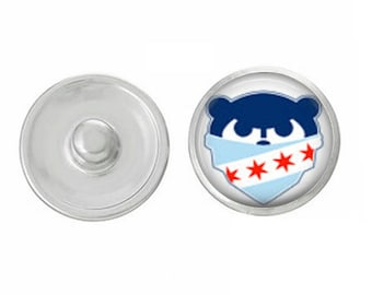 Chicago Flag Cubbie Snap - Pair with our Base Pieces - Coordinate with 18-20mm Snap Bases - Gingersnaps - Magnolia and Vine - Compatible