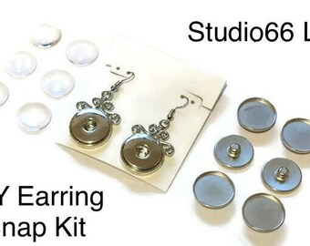 DIY Earring Kit with Interchangeable Glass Snaps - Magnolia and Vine - Ginger Snaps Compatible Snaps - Make Your Own Glass Snap Earrings