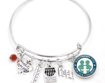 Teacher Appreciation - Fundraising - School Themed Bangle Bracelet - Customize with Your School Name or Logo
