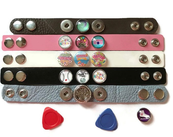 DIY Snap Bracelet - Customize your Cuff Bracelet - Snaps are Compatible with Ginger Snaps - Magnolia and Vine - 18-20mm Snaps - Leather Cuff
