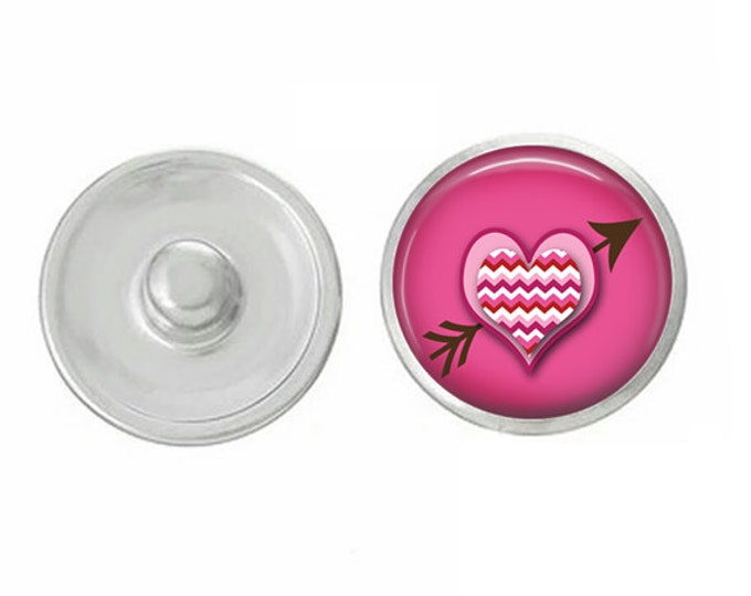 Heart and Arrow - Compatible with Studio66 LLC -  Gingersnaps - Magnolia and Vine - Noosa 18-20mm Base - Handpressed Snaps