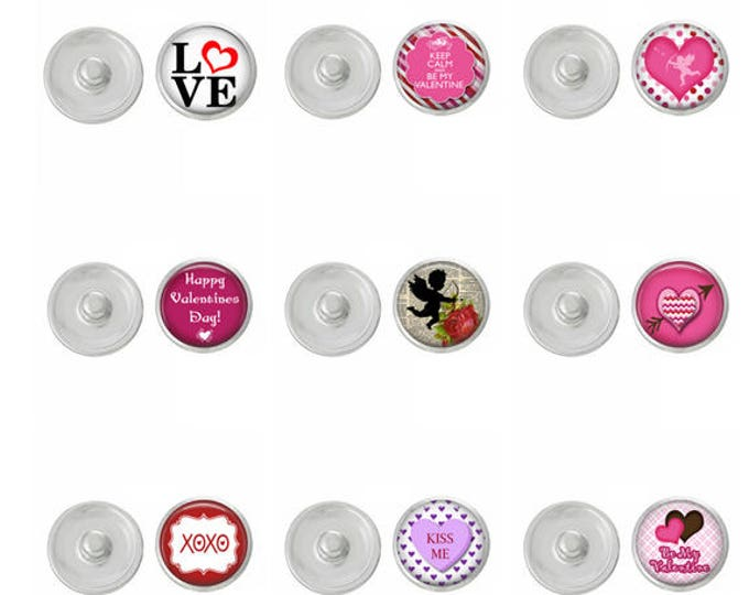 Valentine Day Snaps - Coordinate With ArtPoppers Snap Bases - Hearts - Cupid - Happy Valentines Day - Love - Buy the Whole Set or Buy One