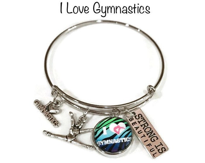 I Love Gymnastics Bangle Bracelet - Coordinates with Studio66 LLC Snaps - Gingersnaps - Ginger Snaps - Magnolia and Vine Snaps - Customize