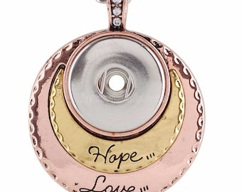 Hope Love Pendant - Pair with Our Handpressed or other snaps - Also Coordinates with Gingersnaps or Magnolia and Vine Jewelry for 18-20mm