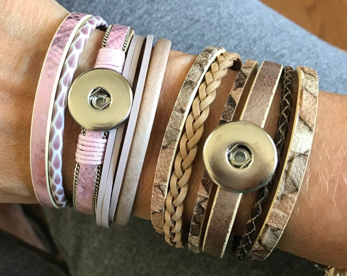 Beige or Pink Snap Leatherette Snap Bracelets with Magnetic Clasp - Compatible with GingerSnaps - Ginger Snaps - Magolia and Vine