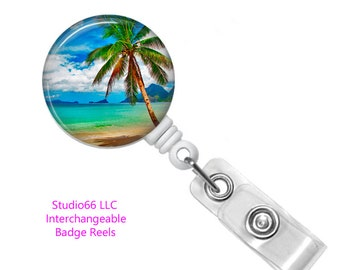 Palm Tree Badge Reel - Button Badge Reel - Name Badge Holders - Cute Badge Reels - Unique Retractable ID Badge Holder - Studio66 LLC
