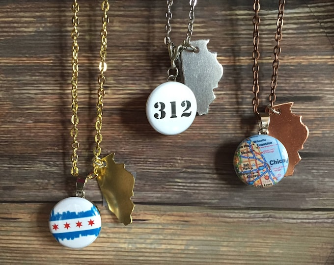 State of Illinois Pendant with Snap Base - Silver - Brass - Copper Tone