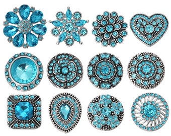 Blue Rhinestone - Crystal Style - Snaps - Compatible with GingerSnaps - Magnolia and Vine - Studio66 LLC Snap Bases - Sparkly Snaps