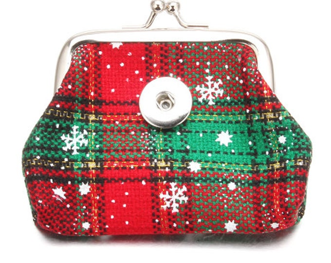 Holiday Christmas Themed Coin Purse - Pairs with All Of Our 18-20mm Snaps - GingerSnaps - Magnolia and Vine Compatible - Winter Snowflakes