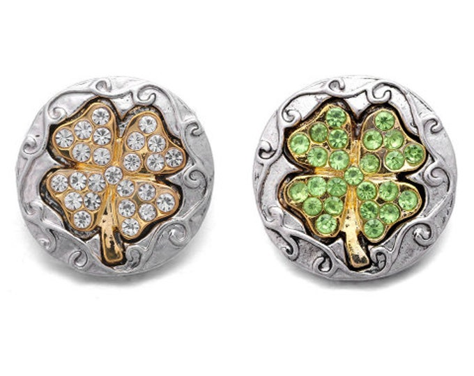 18MM Gold and Crystal or Gold and Green Four Leaf Clover 18mm Snap - Compatible with GingerSnaps - Magnolia and Vine - Noosa Snap Jewelry