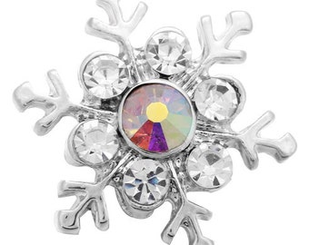 Stunning Snowflake Crystal Interchangeable Winter Themed 18mm Snap - Compatible with GingerSnaps - Magnolia and Vine - Noosa Snap Jewelry