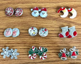 Festive Christmas Winter Themed Snaps - Snaps Sold Separately - Select TWO Snaps to Make a Pair Of Earrings - Compatible with GingerSnaps