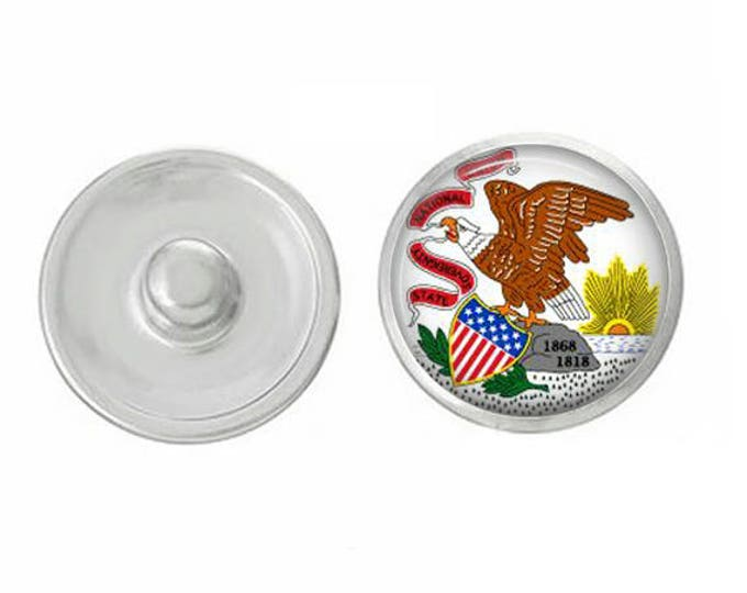 Illinios State Flag Snap - Pair with our Base Pieces - Coordinate with 18-20mm Snap Bases - Gingersnaps - Magnolia and Vine - Compatible