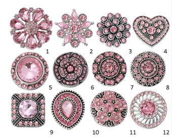 Pink Rhinestone - Crystal Style - Snaps - Compatible with GingerSnaps - Magnolia and Vine - Studio66 LLC Snap Bases - Sparkly Snaps
