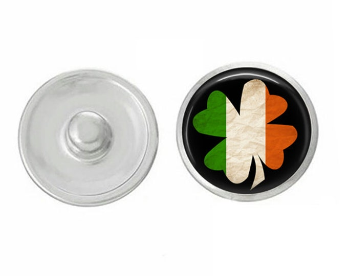 Irish Flag Clover Snap - Pair with our Snap Bases - Compatible with Ginger Snaps - Magnolia and Vine Base Pieces - 18-20mm Snap Bases