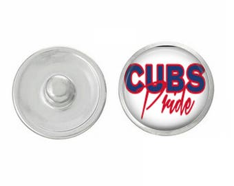Cubs Pride Snap - Pair with our Base Pieces - Coordinate with 18-20mm Snap Bases - Gingersnaps - Magnolia and Vine - Compatible