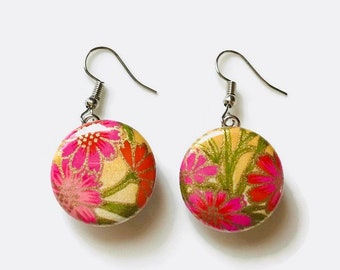 Snap Earrings - French Hook Chiyogami Floral Paper Earrings- Compatible with Gingersnaps - Ginger Snaps -  Magnolia and Vine - Noosa 18-20mm