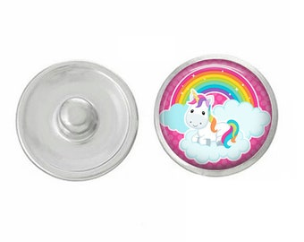 Unicorn Snaps - Pick One or Set - Compatible with Studio66 LLC -  Gingersnaps - Magnolia and Vine - Noosa 18-20mm Base - Handpressed Snaps