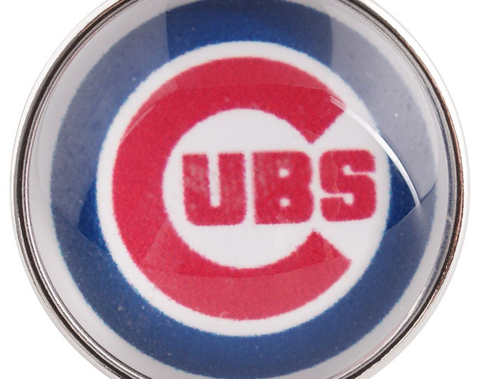Chicago Cubs - Chicago Baseball - Glass Dome Snap - Compatible with Gingersnaps - Magnolia and Vine - Noosa 18-20mm - Glass Dome Snap