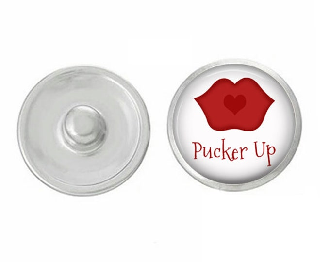 Valentines Day - Pucker Up Lips - Cupid - Love - Handpressed Snap - Coordinates with Magnolia and Vine and Gingersnaps 18mm Standard Snaps