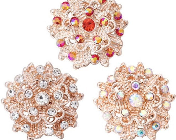 Rose Gold Crystal Snap - Available with Red Crystals, AB Crystals or Clear Crystals - Compatible with GingerSnaps and Magnolia and Vine