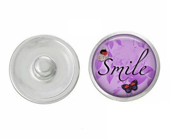 Smile Inspiratonal Snap - Compatible with Studio66 LLC -  Gingersnaps - Magnolia and Vine - Noosa 18-20mm Base - Handpressed Snaps