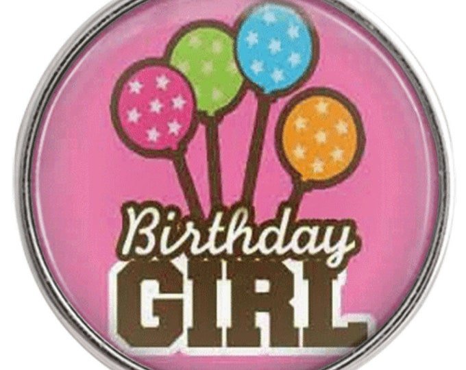 Birthday Girl Snap - Happy Birthday Snap - Noosa Snap - Compatible with Gingersnaps - Magnolia and Vine - Noosa 18-20mm Base - Glass Dome