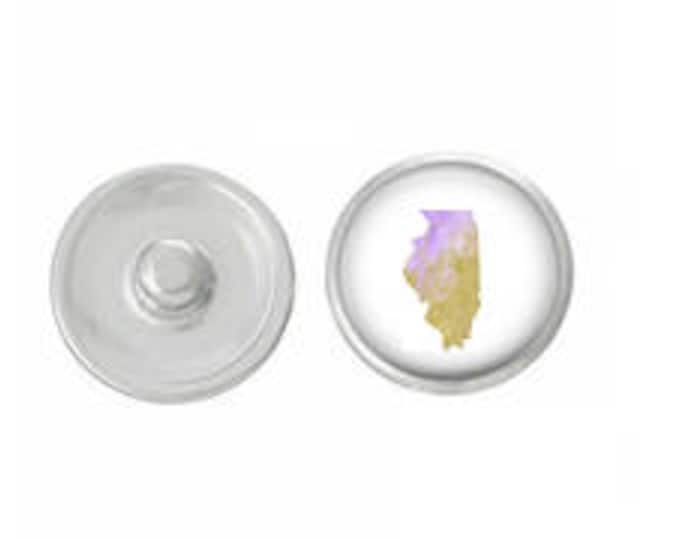 Illinois Purple and Gold Pastel Snap - Pair with our Base Pieces - Coordinate with 18-20mm Snap Bases - Gingersnaps - Magnolia and Vine