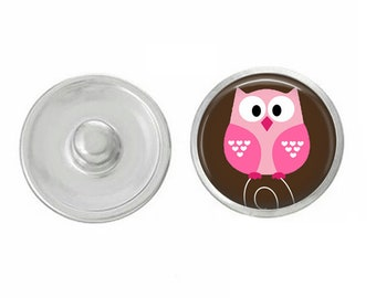 Valentines Day - Pink Owl - Cupid - Love - Handpressed Snap - Coordinates with Magnolia and Vine and Gingersnaps 18mm Standard Snaps