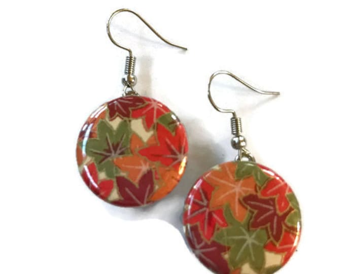 Snap Earrings - French Hook Fall Autumn Chiyogami Paper Earrings- Compatible with Gingersnaps - Ginger Snaps -  Magnolia and Vine