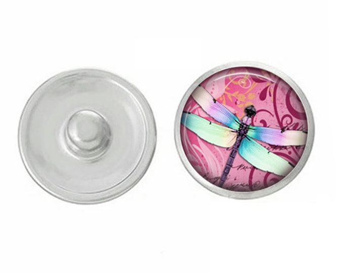 Pink Dragonfly Snap - Compatible with Studio66 LLC -  Gingersnaps - Magnolia and Vine - Noosa 18-20mm Base - Handpressed Snaps