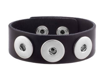 Black Adjustable Leather Cuff with Three Snaps