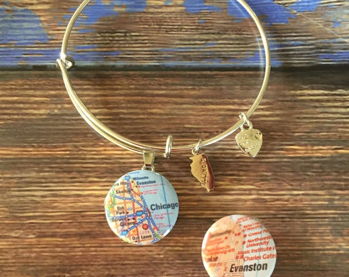 Dangle Bracelet with Illinois Charm and Snap Base - State Love Collection