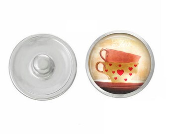 Heart Teacup Snap - Pair with Our Base Pieces - GingerSnaps or Magnolia and Vine Jewelry - Handpressed Snaps - 18-20mm Snaps