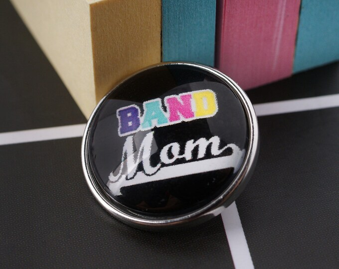 Band Mom Snap - Mom Snap Sports Snap - Noosa Snap - Compatible with Gingersnaps - Magnolia and Vine - Noosa 18-20mm Base - Glass Dome Snap
