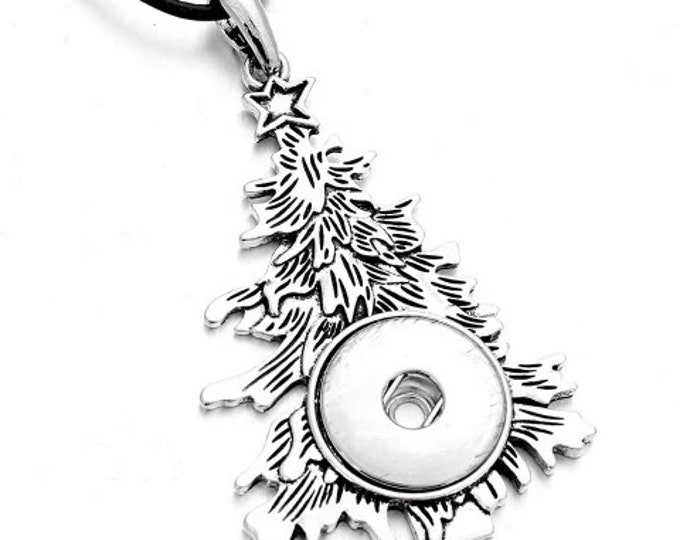 """Christmas Tree Holiday Snap Pendant with Est. I8"""" Black Cord and Extender Chain - Pair with Two Snaps - GingerSnaps - Magnolia and Vine"""