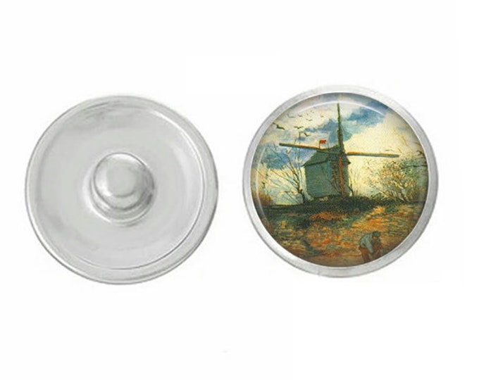 Van Gogh Windmill Scene - Pair with our Base Pieces - Compatiable with GingerSnaps and Magnolia and Vine Pieces - HandPressed Snaps