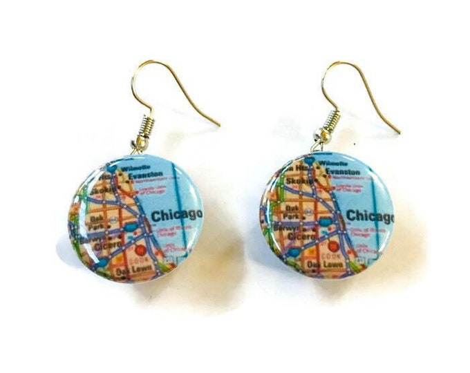 Snap Earrings - French Hook - Chicago Themed Street Map Earrings- Compatible with Gingersnaps - Ginger Snaps -  Magnolia and Vine
